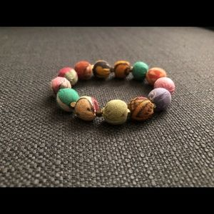 Fabric-Covered Beaded Bracelet